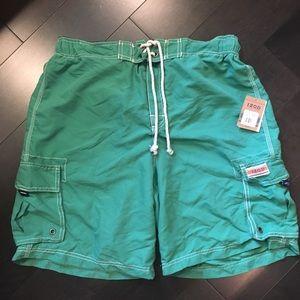 IZOD luxury sport cargo swim trunks large green